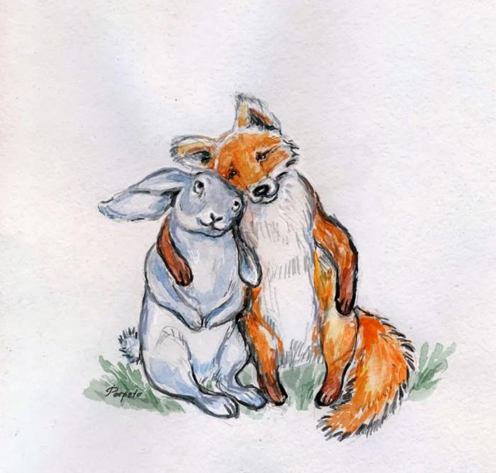 Сделать, прикольные картинки с лисой и зайцем